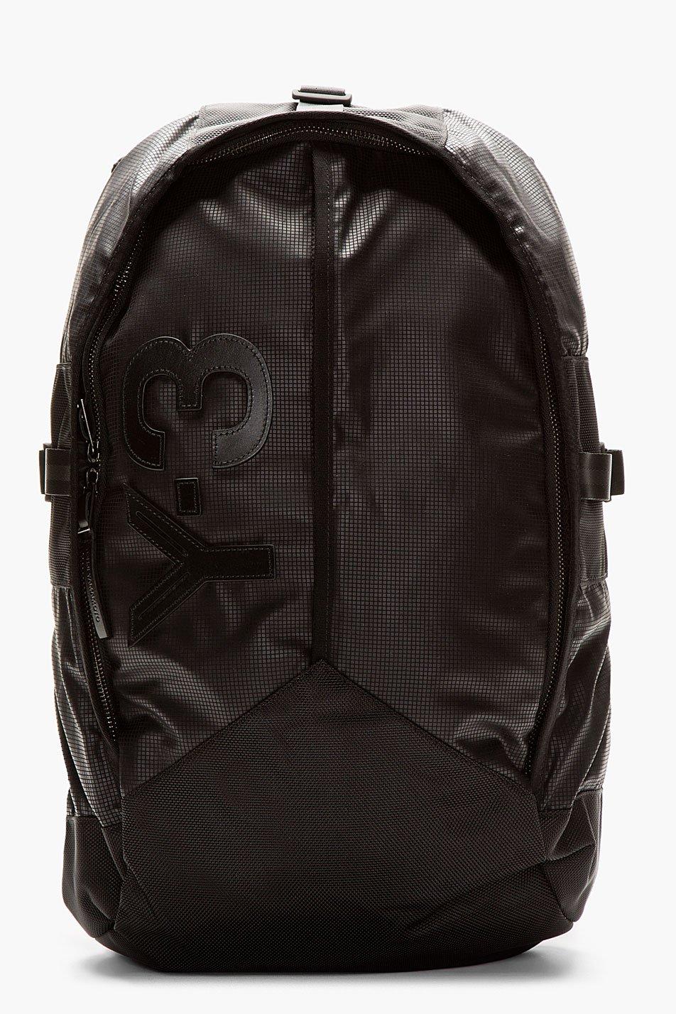 y_3 black graph print mesh_back backpack