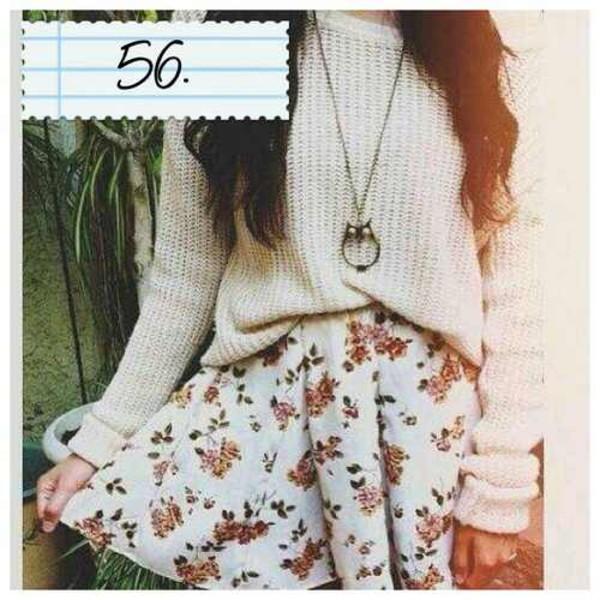 sweater sweater skirt floral skirt skirt