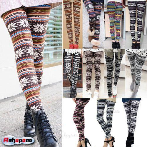 New women's nordique cerfs tricoté, leggings.'pantalon flocon de neige