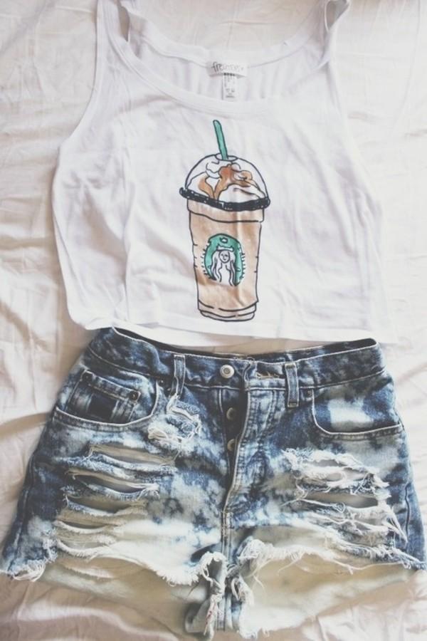 white top denim shorts ripped shorts tank top starbucks coffee white crop tops