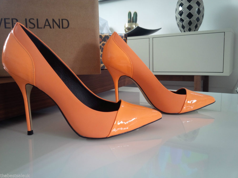 River Island - Size 4 Willow Toe Cap Orange Pointed Court Shoe *LooK * | eBay