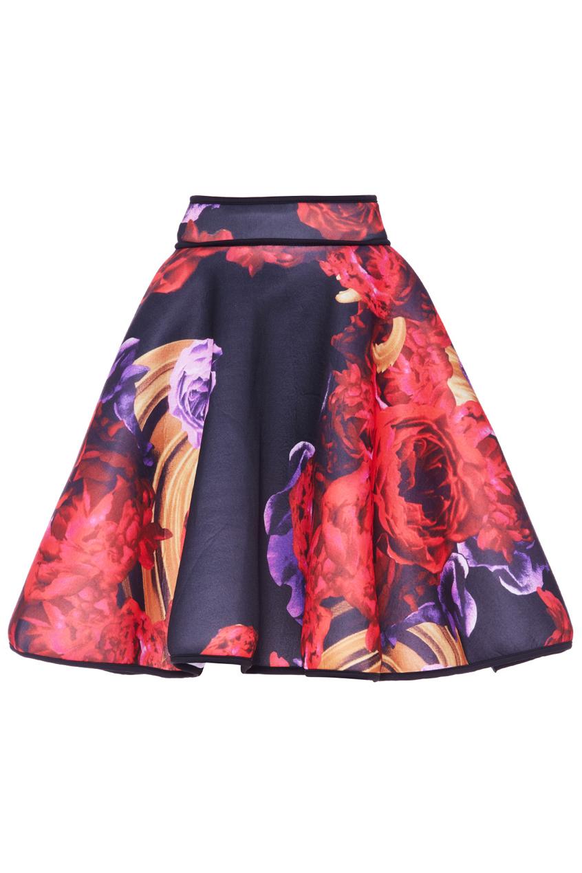 ROMWE | ROMWE Dark Roses Print Black Skater Skirt, The Latest Street Fashion