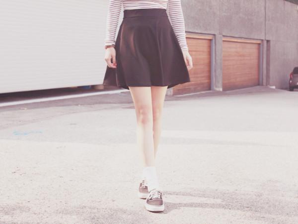 skirt skater black vans hipster