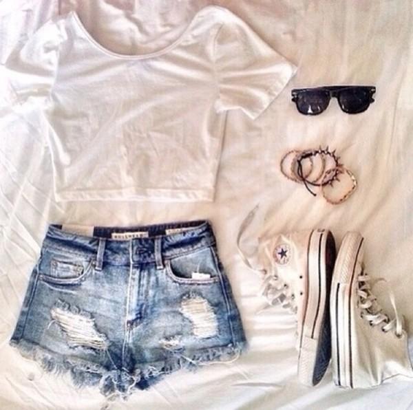 shorts High waisted shorts distressed denim shorts shoes shirt sunglasses