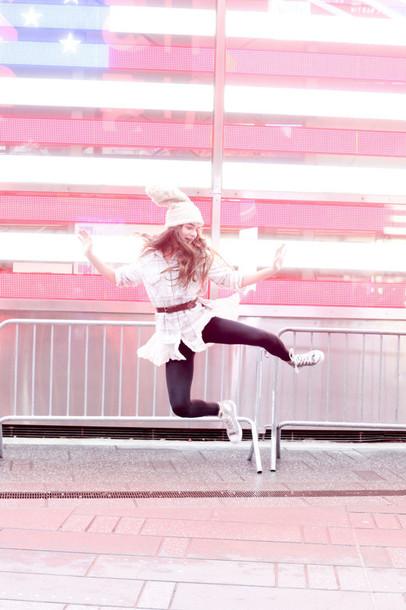 callies street chic blogger belt beanie high top converse shirt dress hat top pants shoes