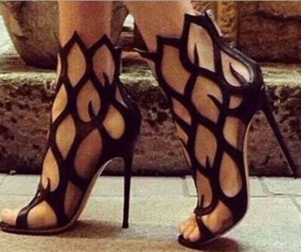 black heels high heels shoes