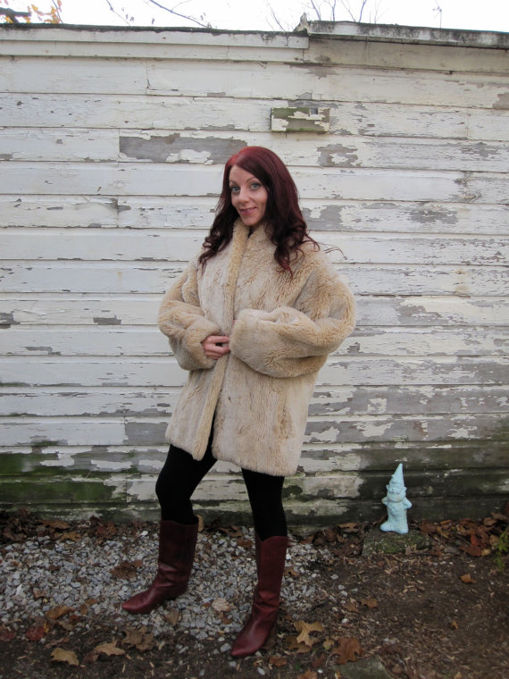 Vintage 80s Faux Sheared Beaver Disco Jacket by by shopjujus