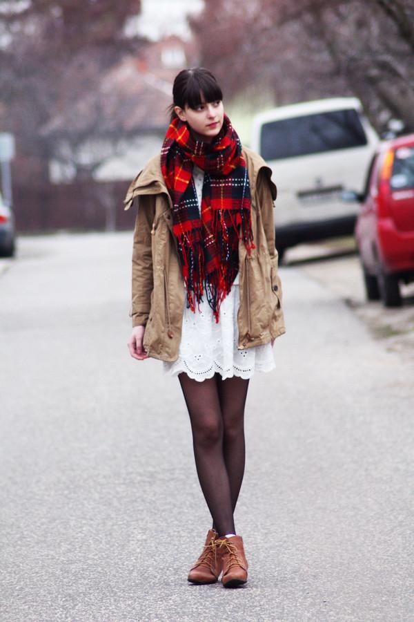 mes memos skirt sweater scarf coat