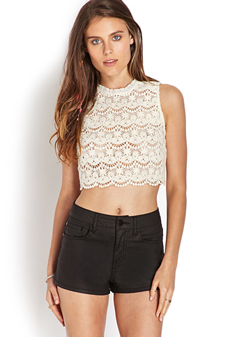 Dainty Crocheted Crop Top | FOREVER21 - 2000073514