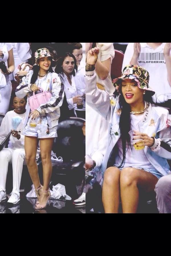 hat celebrity rihanna floral shorts