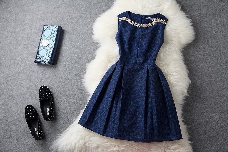 2013 autumn winter women's dress flower rhinestone beading dark navy blue tank dress embroidered fashion vintage brand dress-in Dresses from Apparel & Accessories on Aliexpress.com