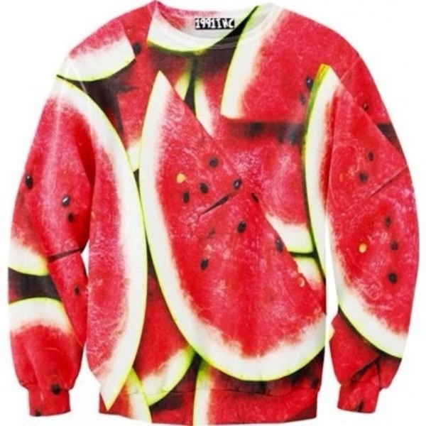 sweater watermelon print red green printed sweater