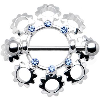 "Light Blue Gem FLOWER BOUQUET Nipple Ring 7/8"" 5mm | Body Candy Body Jewelry"