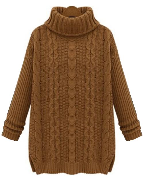Khaki High Neck Long Sleeve Cable Knit Sweater - Sheinside.com
