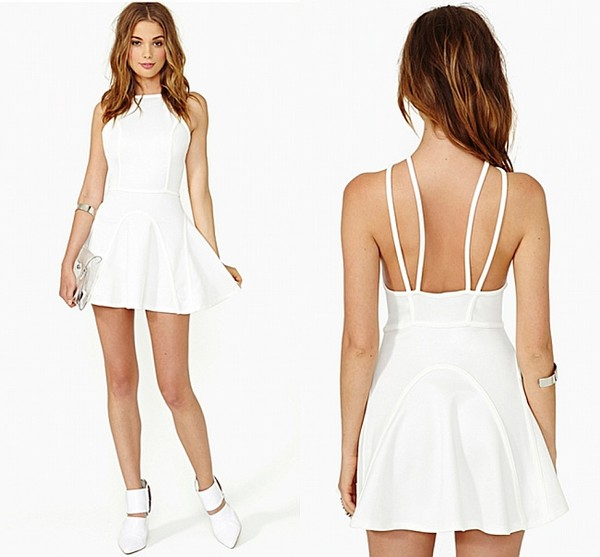 dress white low back dress cute dress