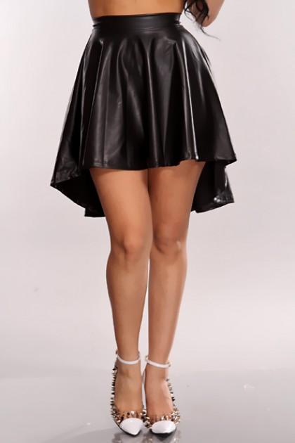 Black Faux Leather High Low Hem Skirt @ Amiclubwear Clothing Skirts Online Store:Long Skirt,Mini Skirts,Poodle Skirt,Plaid Mini Skirt,Micro Mini Skirt,Jeans Skirts,Black Mini Skirt,Up Skirt,Short Skirts,Leather Skirts,Pencil Skirts,High Waist Pencil Skirt