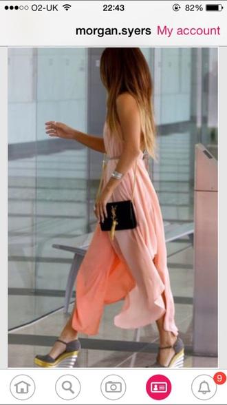 dress prom dress evening dress smart coral dress floaty floor length dress chiffon dress