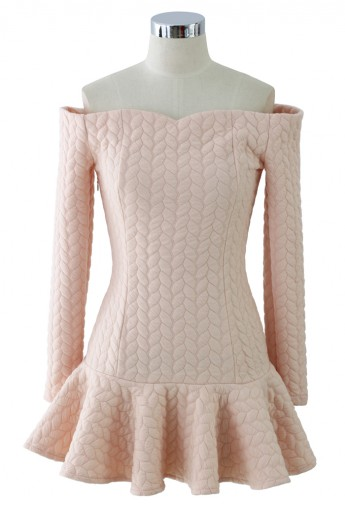 Quilt Off-Shoulder Frill Hem Dress in Peach - Retro, Indie and Unique Fashion