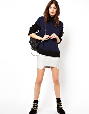 ASOS | ASOS Jumper With Woven Back & Turtle Neck at ASOS
