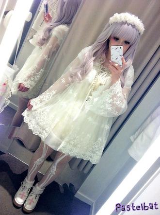 pants bones lovely bones skeleton white dress white cream kawaii creepy kawaii dress jacket cardigan
