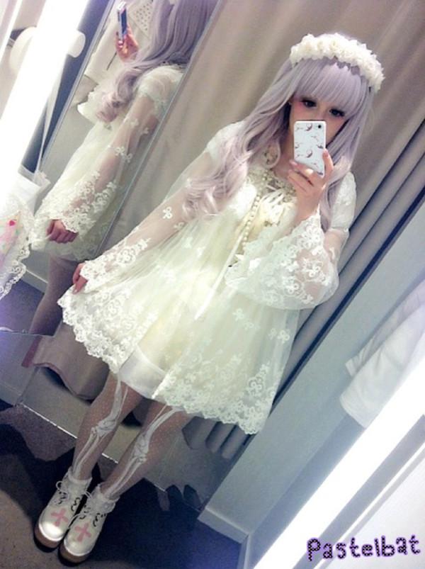 pants bones lovely bones skeleton white dress white cream kawaii creepy kawaii creepy kawaii dress jacket cardigan