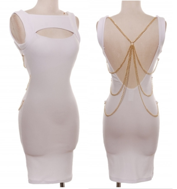 dress dress with chains white dress gold chain club dress clubwear clubwear clubwear