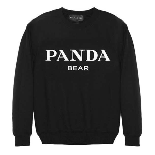 Ideal sweater, alex and chloe, alex & chloe, panda, panda bear, black  GM08