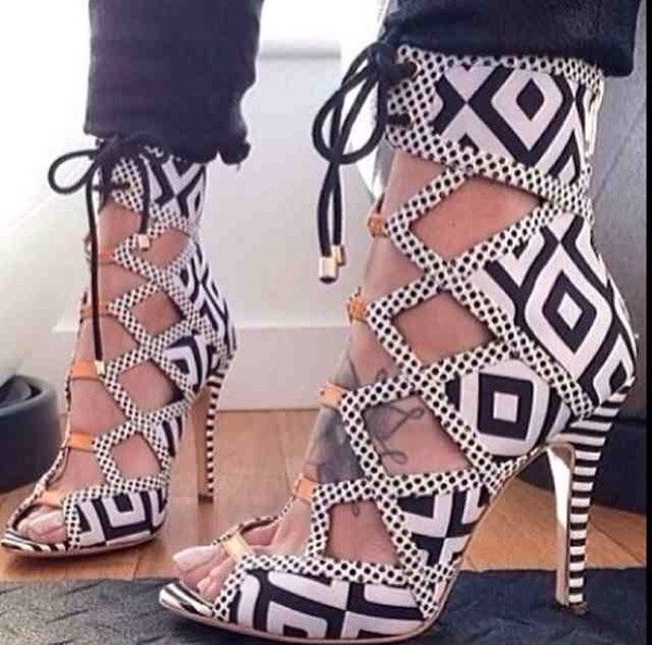shoes monochrome high heels stripes celebrity style black and white fashion
