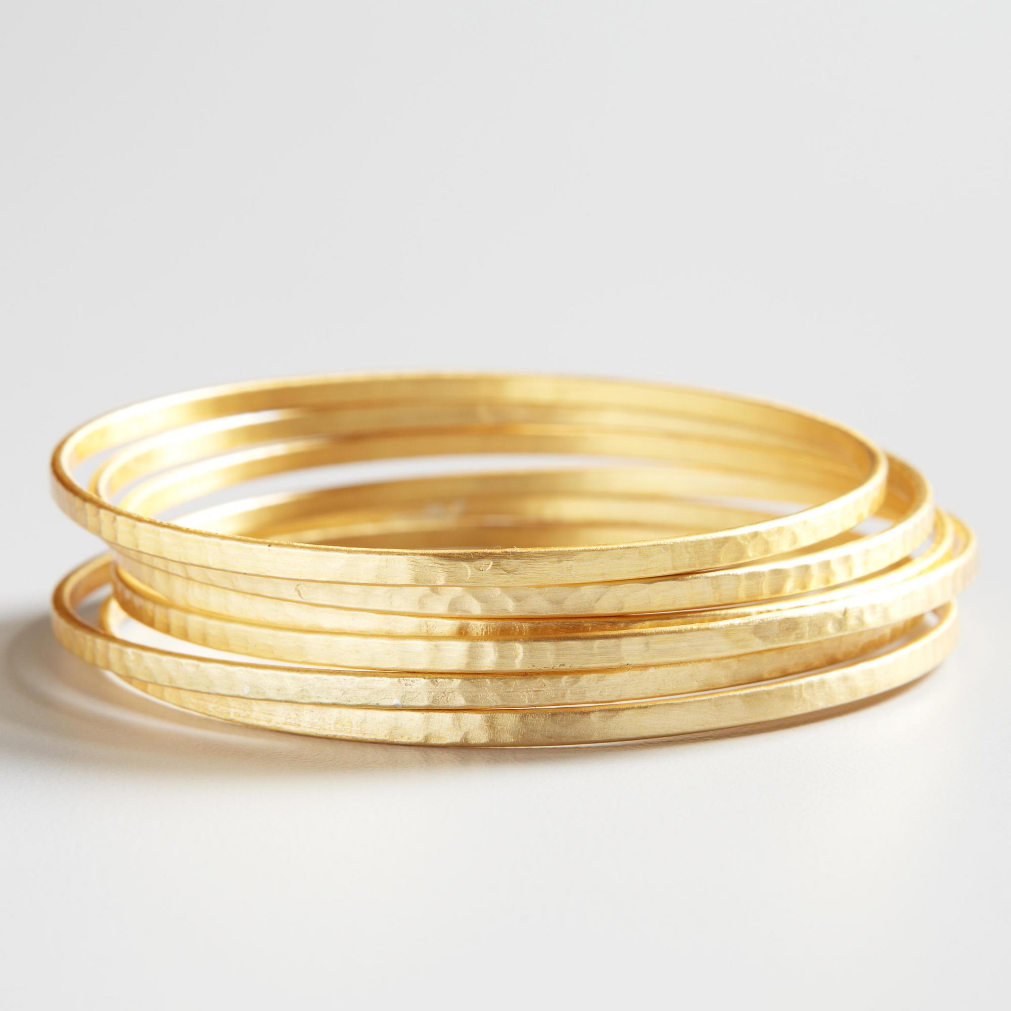 Gold Bangles, Set of 6 on Wanelo