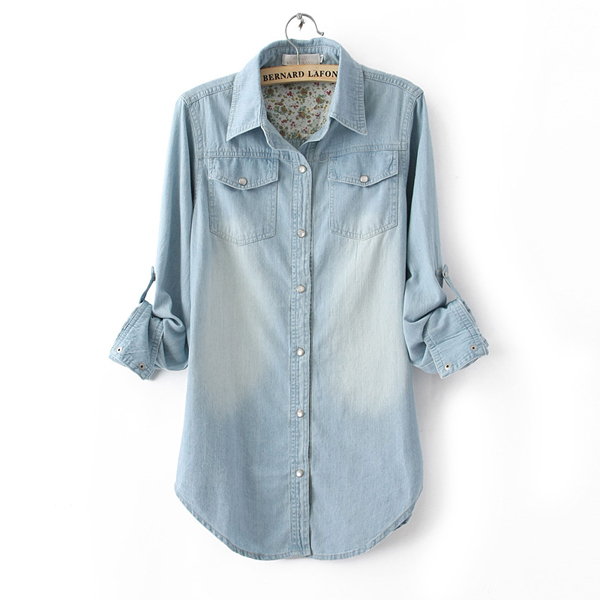 2013 New Fashion Style Women Lady Girl Retro vintage Long Sleeve Blue Jean Denim Shirt Tops Blouse Clothes Free shipping FC230-in Denim Clothings from Apparel & Accessories on Aliexpress.com