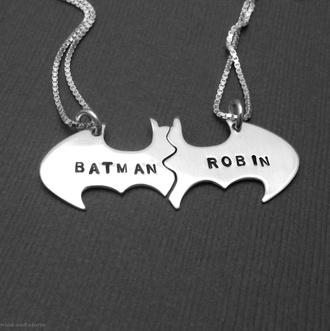 jewels couple pair silver necklace batman bat