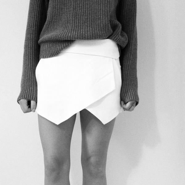 skirt skorts clothes white skirt triangle skirt asymmetrical skirt sweater