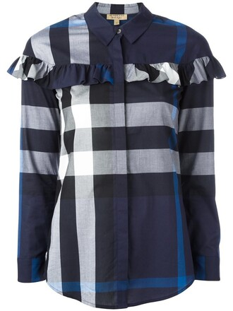 shirt checked shirt women cotton blue top