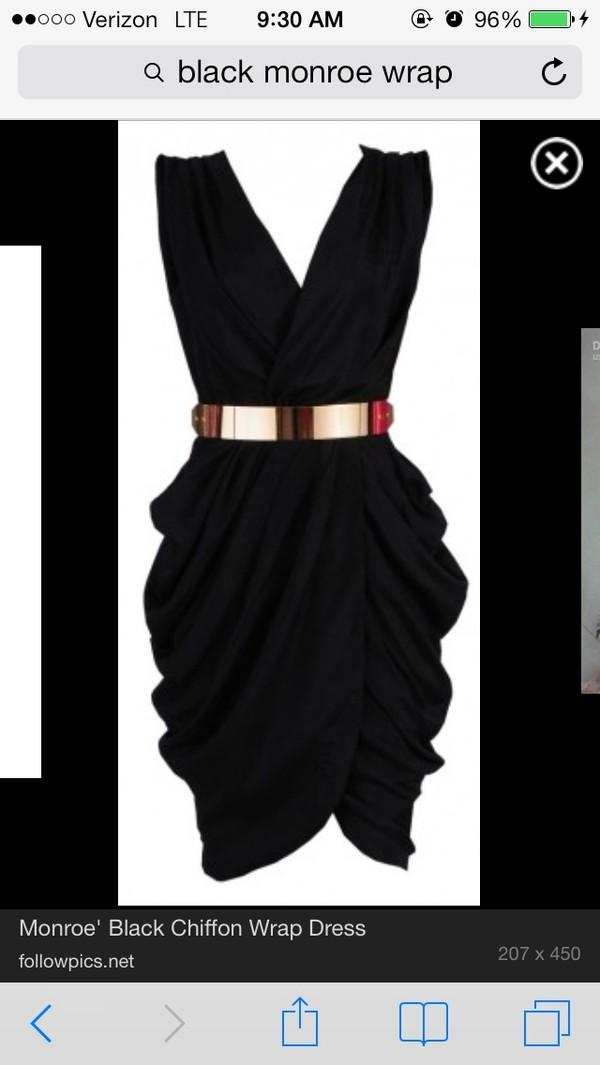 dress chiffon black wrap wrap dress