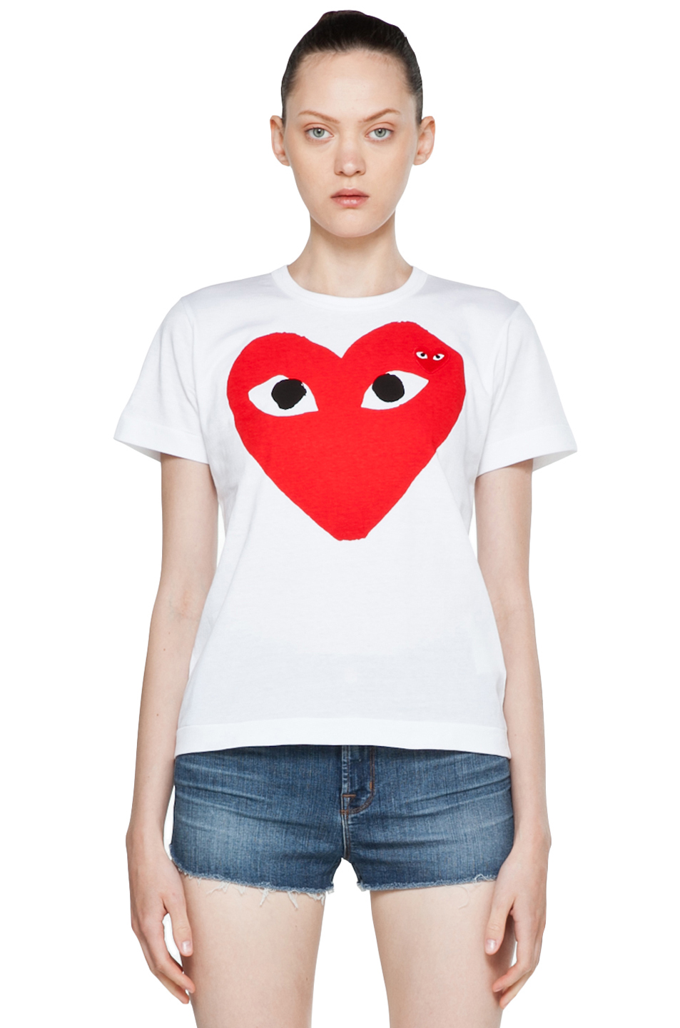 Comme Des Garcons PLAY Red Heart Emblem Tee in White