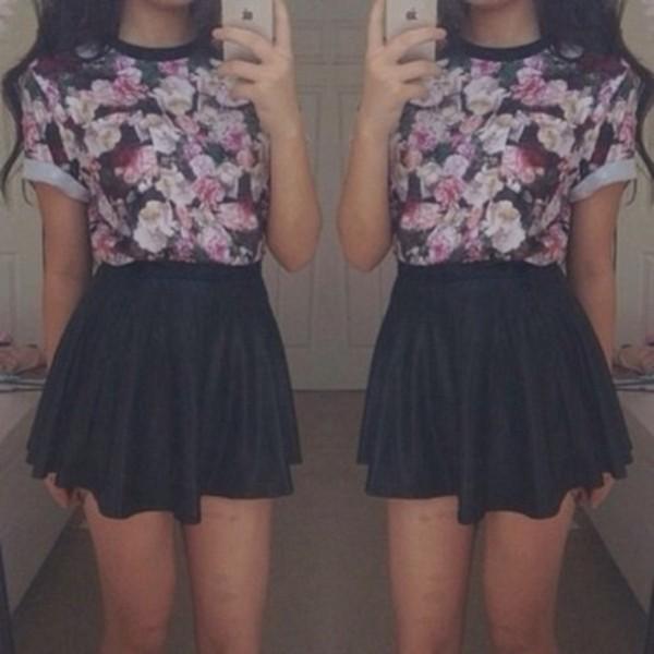 skirt black skirt skirt leather skirt floral top