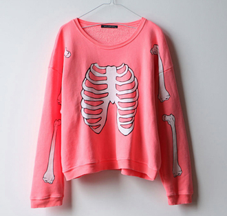 pink sweater white sweater cotton oversized skull sweater bones skeleton bones sweater pink shirt cool white girly lovely pastel pink pullover hipster goth pastel goth sweatshirt crewneck kawaii bubblegum colorful clothes top long sleeves coat pastel blouse