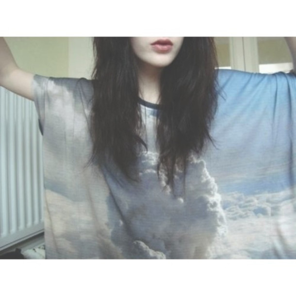 top shirt clouds pattern blue white