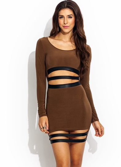 Sneak-Peek-Bodycon-Dress MOCHA - GoJane.com