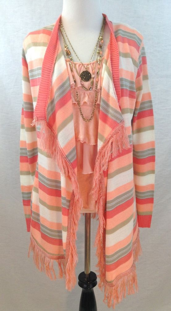 New Boho Chic People Striped Sweater Fringe Cardigan Size Small s Free Earrings | eBay