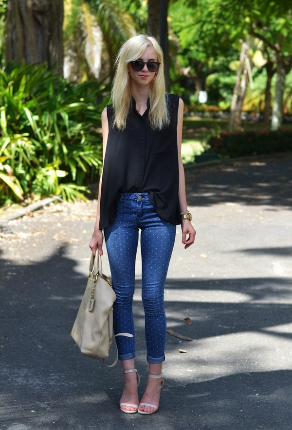 vogue haus blouse jeans shoes bag jewels sunglasses