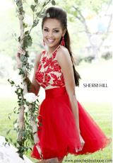 Sherri Hill Short Homecoming Dress 21219 at Peaches Boutique