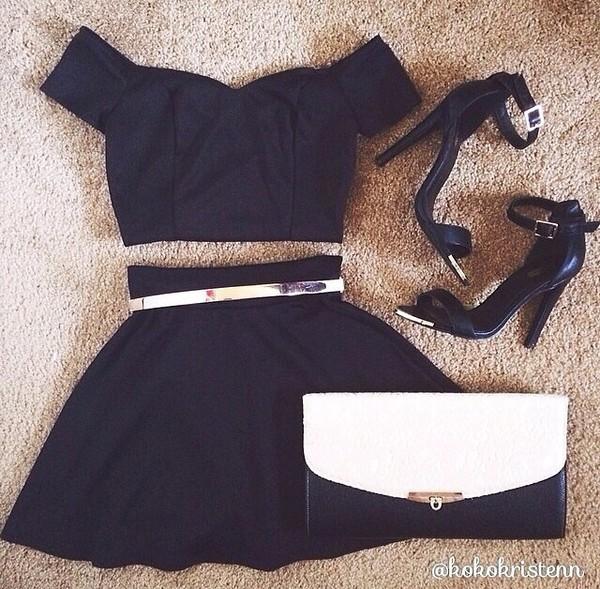 side strap black crop tops black skater skirt belt skirt