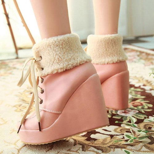 Women's Platform Lace Up Ankle Boots Sweet Higt Top Fashion Fur Pumps Booties | eBay