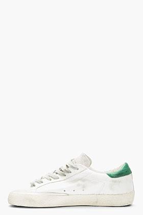 Golden Goose White & Green Leather Superstar Sneakers for men | SSENSE