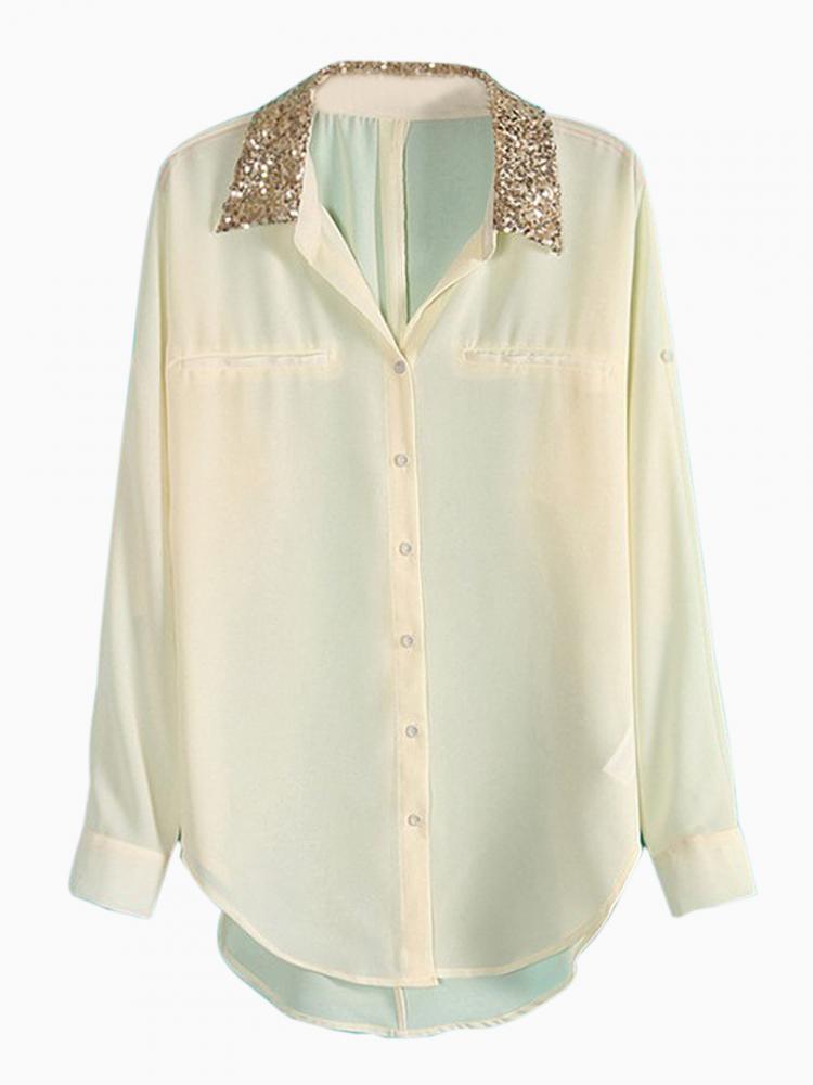 Sequin Collar Shirt   Choies
