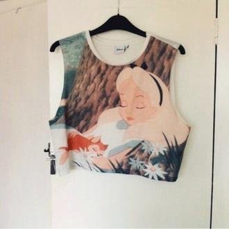 t-shirt disney cute girl alice beautiful color/pattern