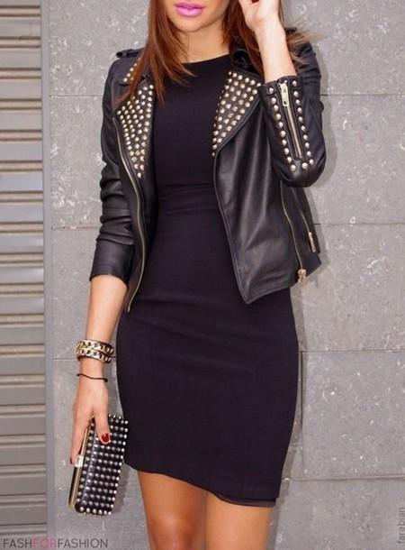 jacket leather jacket studs gold
