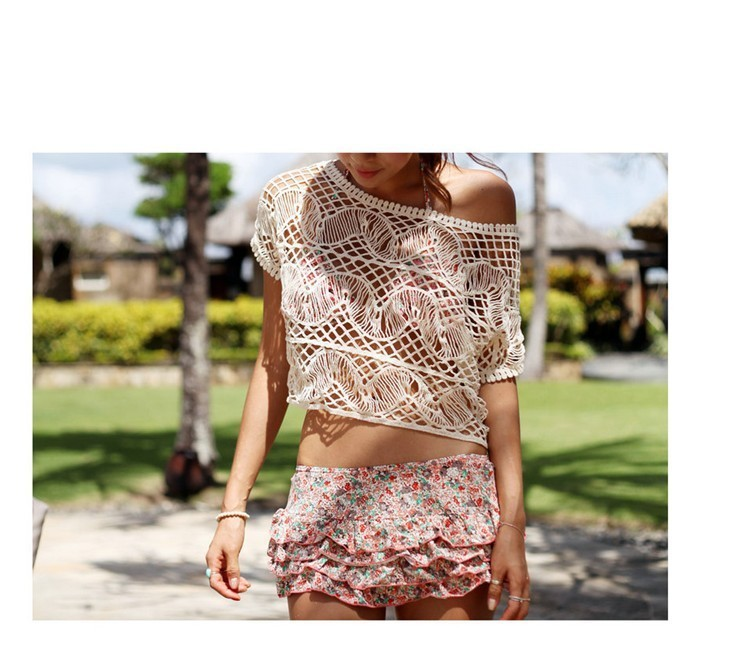 2013 New Woman Sexy Beach Swimwear Crochet Vintage Cover Up Dress Vestidos Camisa Pullover Cropped Top Blusas Free Shipping-in Cover-Ups from Apparel & Accessories on Aliexpress.com