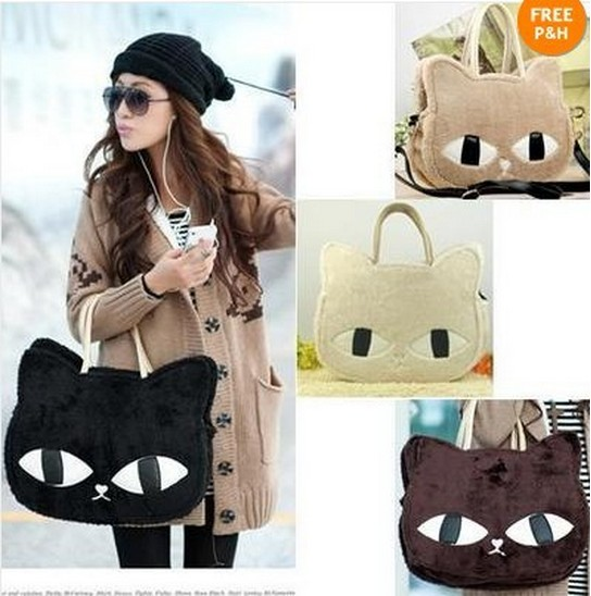 Korean 2013 new cute cat hello kitty bag shoulder women vintage black shopping handbags hot selling women crossbody bags-in Messenger Bags from Luggage & Bags on Aliexpress.com